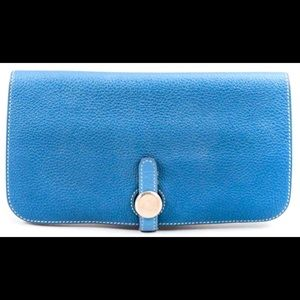 Hermes- teal Dogon Duo wallet leather